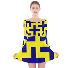 Pattern Blue Yellow Crosses Plus Style Bright Long Sleeve Velvet Skater Dress
