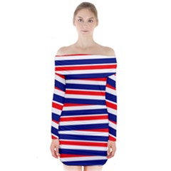 Red White Blue Patriotic Ribbons Long Sleeve Off Shoulder Dress
