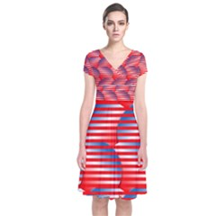 Patriotic pattern Short Sleeve Front Wrap Dress