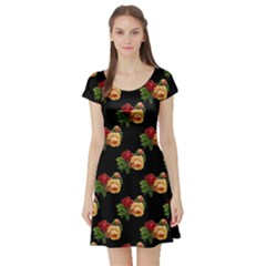 Vintage Roses Wallpaper Pattern Short Sleeve Skater Dress