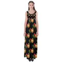 Vintage Roses Wallpaper Pattern Empire Waist Maxi Dress