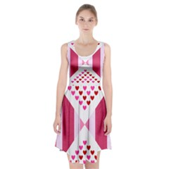 Valentine Hearts Love Fabric Pink Racerback Midi Dress