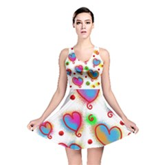 Love Hearts Shapes Doodle Art Reversible Skater Dress