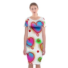 Love Hearts Shapes Doodle Art Classic Short Sleeve Midi Dress