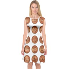 Social Media Icons Symbol Internet  Capsleeve Midi Dress