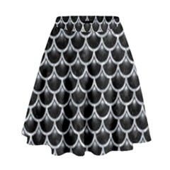 Scales3 Black Marble & Gray Marble High Waist Skirt