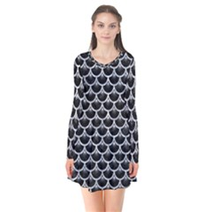 Scales3 Black Marble & Gray Marble Long Sleeve V Neck Flare Dress