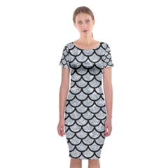 Scales1 Black Marble & Gray Marble (r) Classic Short Sleeve Midi Dress