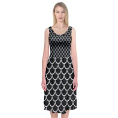 Scales1 Black Marble & Gray Marble Midi Sleeveless Dress