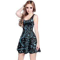 Elegant Blue Christmas Tree Black Background Reversible Sleeveless Dress