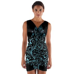 Elegant Blue Christmas Tree Black Background Wrap Front Bodycon Dress