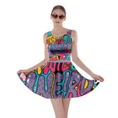 Face Weird Monster Skater Dress