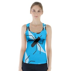 Mosquito Blue Black Racer Back Sports Top