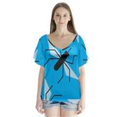 Mosquito Blue Black Flutter Sleeve Top