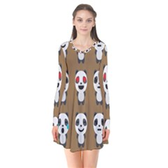 Panda Emoticon Flare Dress