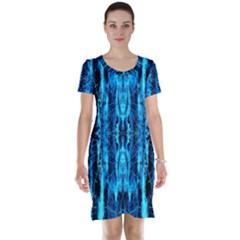Bright Blue Turquoise  Black Pattern Short Sleeve Nightdress