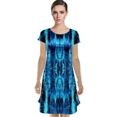 Bright Blue Turquoise  Black Pattern Cap Sleeve Nightdress