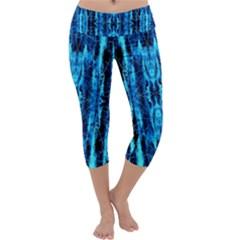 Bright Blue Turquoise  Black Pattern Capri Yoga Leggings