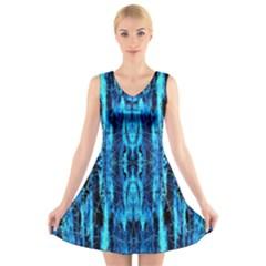 Bright Blue Turquoise  Black Pattern V-Neck Sleeveless Skater Dress