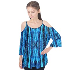 Bright Blue Turquoise  Black Pattern Flutter Tees