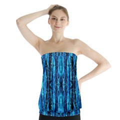Bright Blue Turquoise  Black Pattern Strapless Top