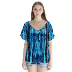 Bright Blue Turquoise  Black Pattern Flutter Sleeve Top