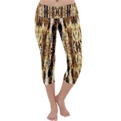 Beige Brown Back Wood Design Capri Yoga Leggings