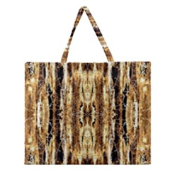 Beige Brown Back Wood Design Zipper Large Tote Bag