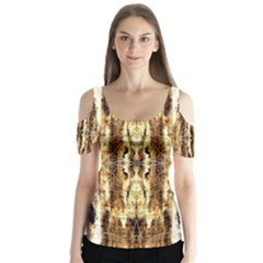 Beige Brown Back Wood Design Butterfly Sleeve Cutout Tee