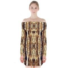 Beige Brown Back Wood Design Long Sleeve Off Shoulder Dress