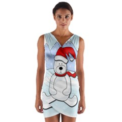 Polar Bear Wrap Front Bodycon Dress