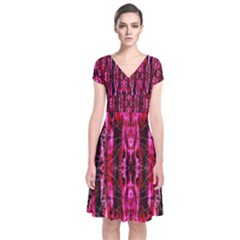Pink Burgundy Traditional Pattern Short Sleeve Front Wrap Dress