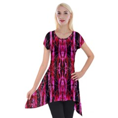 Pink Burgundy Traditional Pattern Short Sleeve Side Drop Tunic