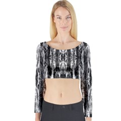 Black White Taditional Pattern  Long Sleeve Crop Top