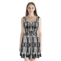 Black White Taditional Pattern  Split Back Mini Dress