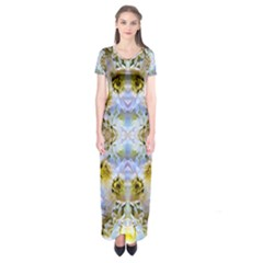 Blue Yellow Flower Girly Pattern, Short Sleeve Maxi Dress