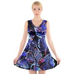 Blue Leaves In Morning Dew V-Neck Sleeveless Skater Dress