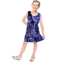Blue Leaves In Morning Dew Kids  Tunic Dress