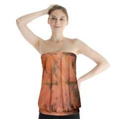 Red Leaf Texture Strapless Top