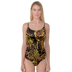 Leaves In Morning Dew,yellow Brown,red, Camisole Leotard