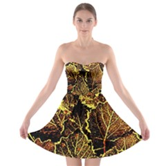Leaves In Morning Dew,yellow Brown,red, Strapless Bra Top Dress