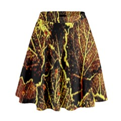 Leaves In Morning Dew,yellow Brown,red, High Waist Skirt