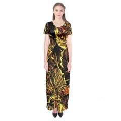 Leaves In Morning Dew,yellow Brown,red, Short Sleeve Maxi Dress