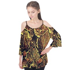 Leaves In Morning Dew,yellow Brown,red, Flutter Tees