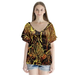 Leaves In Morning Dew,yellow Brown,red, Flutter Sleeve Top