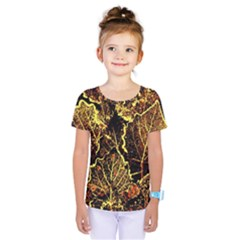 Leaves In Morning Dew,yellow Brown,red, Kids  One Piece Tee