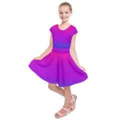 Pink Purple Blue Kids  Short Sleeve Dress