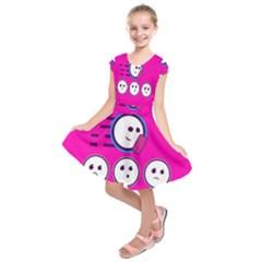 Run Face Pink Kids  Short Sleeve Dress