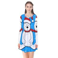 Polar Bear   Blue Flare Dress