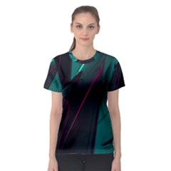 Abstract Green Purple Women s Sport Mesh Tee